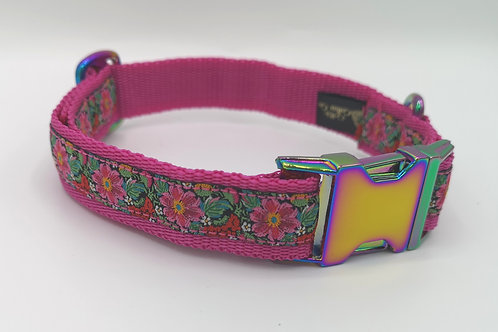 "Dog Collar Flower Ribbon, 1"" Cerise Webbing Neo Chrome , Matching Lead Available"