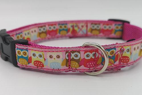 "Dog Collar Owl Jacquard Ribbon on Pink 16mm Webbing size 12"" - 16"""
