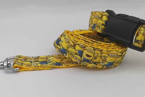 "Minion Grosgrain Ribbon Dog Collar & Lead Set 1"" Webbing size 12"" - 16"""