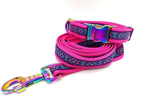 "Dog Collar & Optional Lead,  Aztec Ribbon, 1"" Pink Cushion Webbing, Neo Chrome"