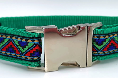Blue Mountain Woven Jacquard Ribbon on Green Webbing Dog Collar