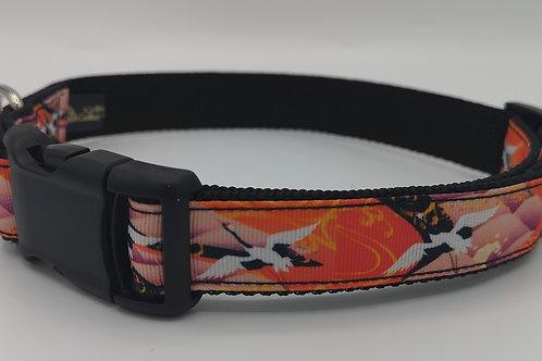 "Flying crane grosgrain ribbon on black 1"" webbing Size 16"" - 24"". 16"" - 24"""