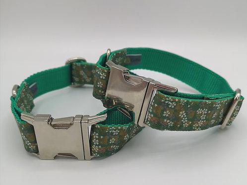 "Dog Collar Petite flowers Grosgrain ribbon on green webbing 13"" - 18"" & 14"" - 21"