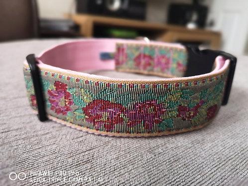 "1.5"" (38 mm) Tapestry Jacquard Ribbon on Pink Webbing."