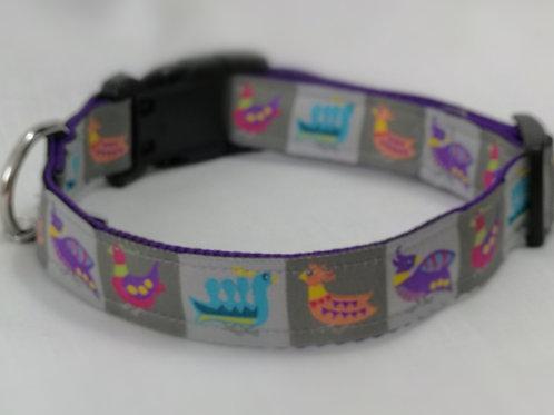 "Dog Collar with Birds on Grey Jacquard Ribbon on Purple 1""Webbing 13"" - 19"""