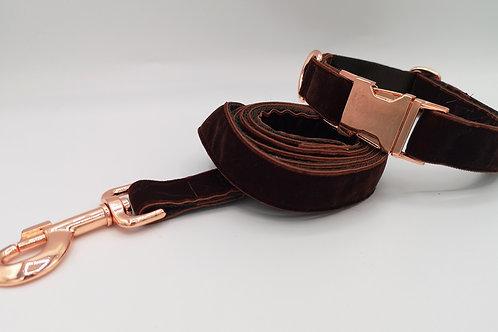 """Brown Velvet Grosgrain on 1"""" (25mm) Brown Webbing. Rose Gold Hardware"""