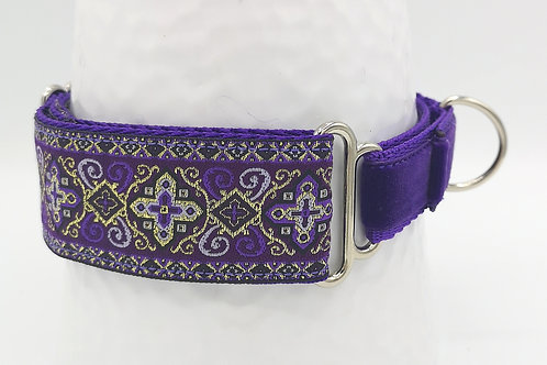 38mm Martingale Dog Collar in Purple Renaissance Jacquard Ribbon/Purple Velvet