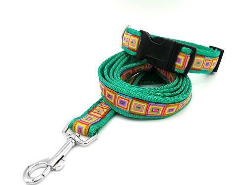 """Dog Collar & Lead, Rainbow Cubes Ribbon, 1"""" (25mm) Green Cushion Webbing"""