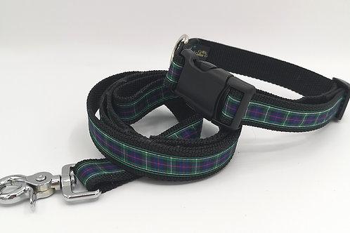"1"" (25mm) Dog Collar & Optional Lead in Cornish Hunting Tartan on Black Webbing"