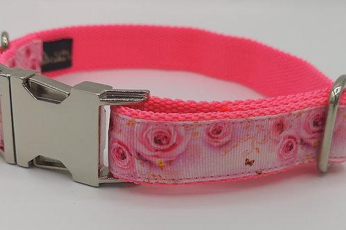 "Pink Rose 1"" Grosgrain Ribbon and Mirror Finish Hardware. 12"" - 18"""