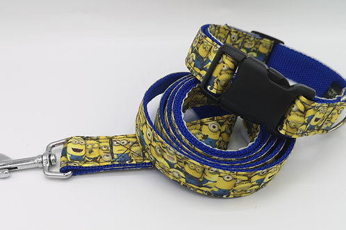 "1"" Wide Minion Grosgrain Ribbon Dog Collar & Lead Set size 13""- 18"""