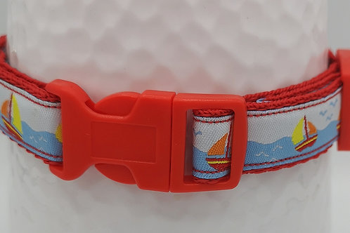 "3/4"" (19mm) Dog Collar Sailing Boat Woven Ribbon, Red Webbing/Buckle 10.5"" - 14"""