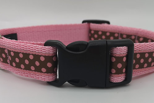 "Dotty Pink/brown woven jacquard ribbon on pink 1""webbing 14"" - 20"""