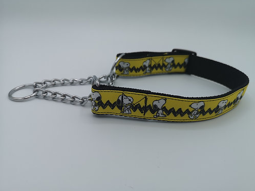 Snoopy Martingale Dog Collar... Half Check