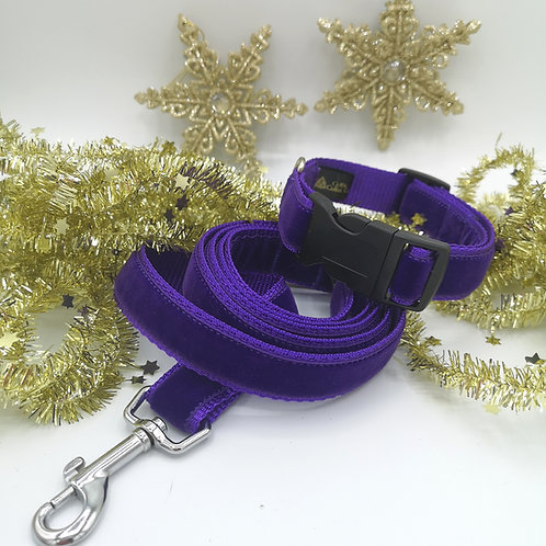 """25mm (1"""") Purple Velvet and Webbing Dog Collar and optional Lead"""