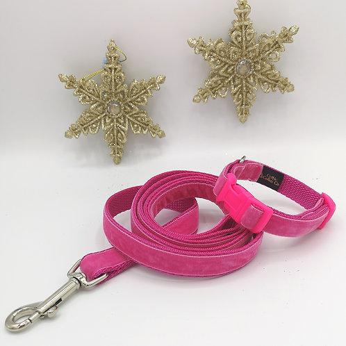 Puppy or Mini Breeds Dog Collar, Lead/ Leash,  Pink Velvet on 16mm Soft Webbing