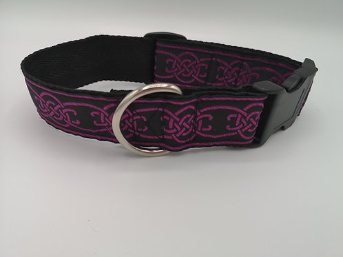 "1.5"" (38mm) Wide Purple Celtic Jacquard Ribbon on Black Webbing Dog Collar"