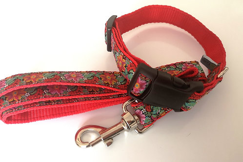 """Flowers & Fruit Jacquard Ribbon/ Red  3/4"""" Webbing. Matching lead available."""