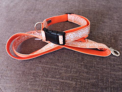 "Peachy/White Flowers on Orange 1"" (25mm) Webbing Dog Collar & Optional  Lead"
