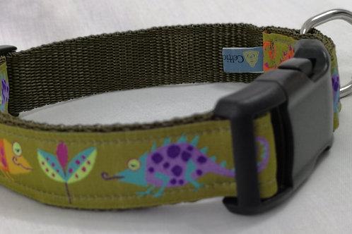 "Dog collar in Olive Green Jungle Ribbon/ Olive Green 1"" ( 25 mm) Webbing"