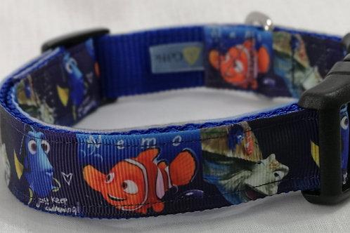 "Nemo Ribbon on Royal Blue 1"" Webbing Neck Size 14"" - 20"""