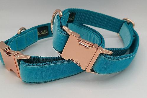 "Dog Collar and Lead Set, Turquoise Velvet, 1"" (25mm) Webbing, Rose Gold Buckle"