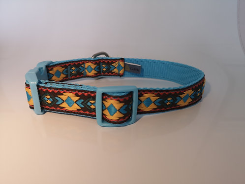 """1"""" Woven Jacquard Ribbon Dog Collar in Tourquoise/Brown/Yellow 13"""" - 16"""""""