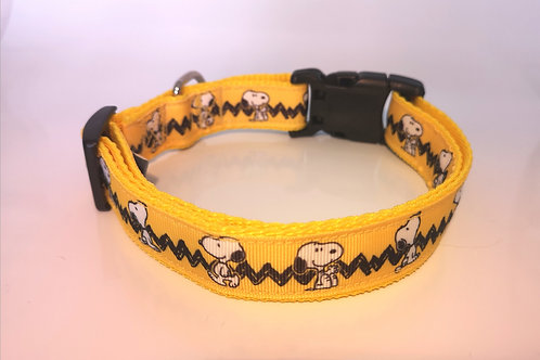 """Snoopy Dog Collar 1"""" (25mm) Grosgrain Ribbon and soft yellow webbing"""