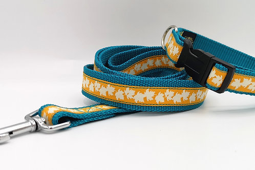 """Autumn Leaves Cotton Ribbon on 1"""" (25mm) Teal Webbing, Matching Lead Available"""