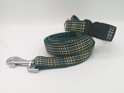 "Dog Collar and Lead, Irish National Tartan/Plaid, 1"" (25mm) Hunter Green Webbing"