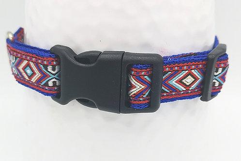"Dog Collar Blue/Red Aztec Jacquard Ribbon, 3/4"" 19mm  Blue Webbing Optional Lead"