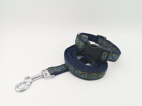 Dog Collar Peacock Feather Ribbon on 19mm Navy Webbing , matching lead availabl