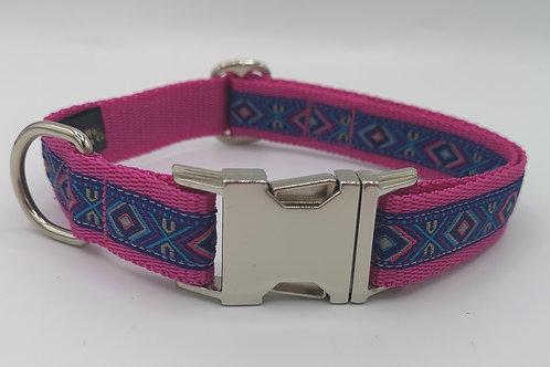 "Dog Collar/Lead Aztec Woven Jacquard Ribbon, Cerise Pink 1"" (25) Webbing"