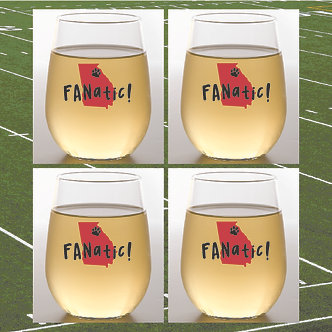 GA BULLDOG FANATIC! – 'Wine-Oh!' Shatterproof Designer Wine Glasses