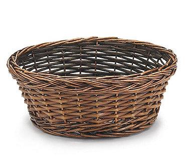 """10"""" Round dark stained willow basket."""