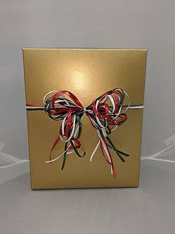 3 Bottle Gold Wine Gift Box with Raffia Bow