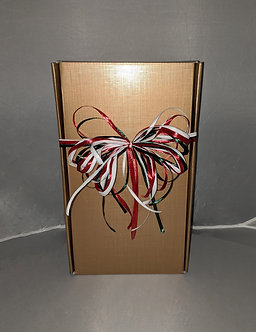 2 Bottle Gold Wine Gift Box with Raffia Bow