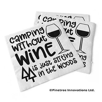 """Camping without Wine"" Beverage Napkins"