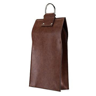 BROWN FAUX LEATHER DOUBLE-BOTTLE WINE TOTE