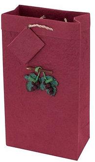Handmade Paper 2 Bottle Gift Bag with Grape Embellishment