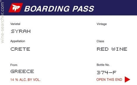2016 Boarding Pass Syrah Greece
