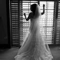 Wedding looking through window black and