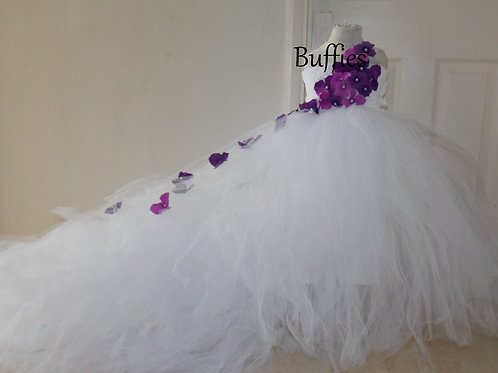 Long trailing White tulle dress ages 1-10