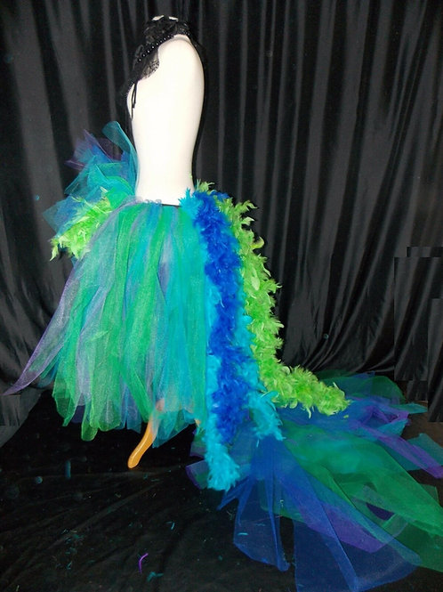 Long Orange Yellow Red Burlesque Performer Dancer Drag Tutu Tulle Skirt Feathers