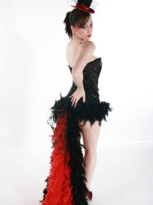 Feather skirt with trailing feathers