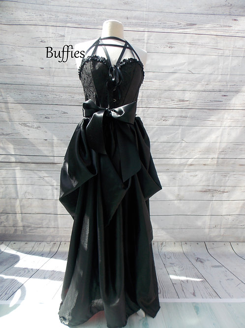 Black corset satin skirt, Gothic fashion, corset, fetish top, alternative wedding dress,