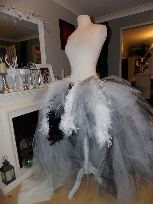 Extra Long Snow queen Burlesque Performer Dancer Drag Tutu Tulle