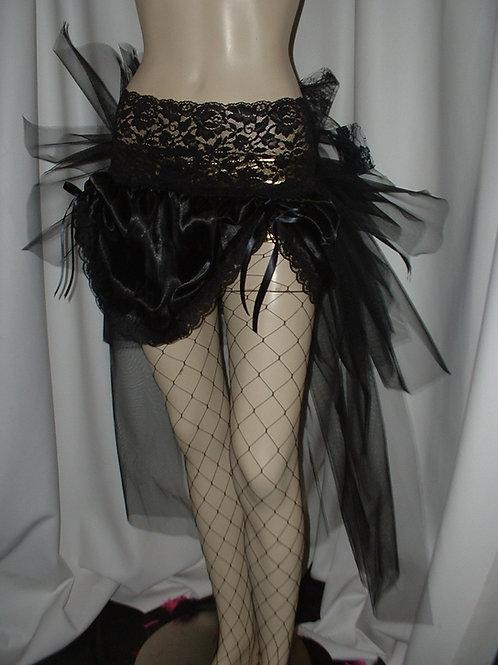 Short satin bustle skirt