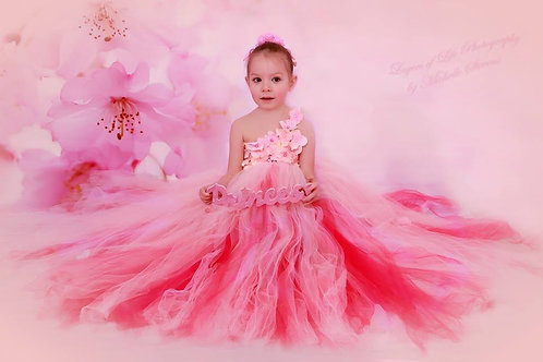 Girls Bridesmaids dress Pink Kids Princess Wedding Party Flower baby