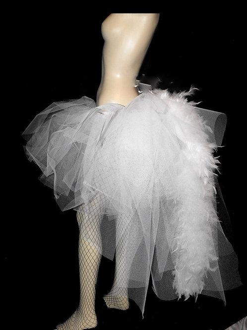 Ladies Black Tutu Dancer Long Layer Bustle Feathers Carnival Festivals P